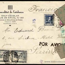 Sellos: CARTA, SOBRE GENERALITAT DE CATALUNYA, DE BARCELONA A PARIS POR AVION, SELLOS EDIFIL 673, 738 . Lote 26872340