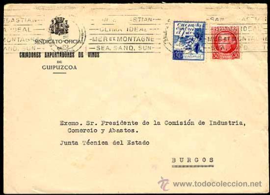 1937 CARTA DE SAN SEBASTIAN A LA JUNTA TÉCNICA DEL ESTADO BURGOS, EDIFIL 687, CRUZADA CONTRA EL FRIO (Sellos - España - Guerra Civil - De 1.936 a 1.939 - Cartas)