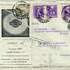 Sellos: 1939 CARTA COMERCIAL (LIJADORAS SIA) DE BARCELONA A DRESDEN ALEMANIA, SELLO EDIFIL 855, 817. Lote 27370366