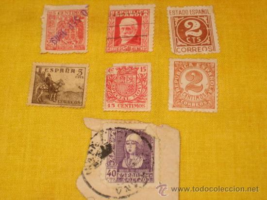 LOTE DE 7 SELLOS SEGUNDA REPUBLICA, GUERRA CIVIL Y POSTERIOR. (Sellos - España - Guerra Civil - De 1.936 a 1.939 - Usados)