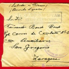 Sellos: SOBRE CENSURA MILITAR , COMANDANCIA MILITAR DE ARANDA DE DUERO , BURGOS ,S45. Lote 23161472