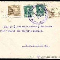 Timbres: CARTA ABRIL DE 1938 SAN SEBASTIAN, DIRIGIDA A FRANCISCO FRANCO. CAPITAN GENERAL DEL EJERCITO ESPAÑOL. Lote 27506866