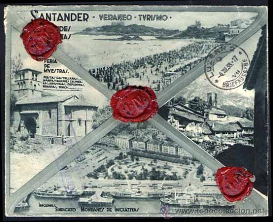 CARTA REVERSO TIPO POSTAL 1938 SANTANDER A SUIZA, SEGUNDO AÑO TRIUNFAL VIVA FRANCO, SELLOS DE LACRE (Sellos - España - Guerra Civil - De 1.936 a 1.939 - Cartas)