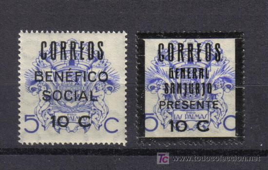 CANARIAS 2 VIÑETAS BENEFICO SOCIAL GENERAL SANJURJO GUERRA CIVIL (Sellos - España - Guerra Civil - Viñetas - Usados)