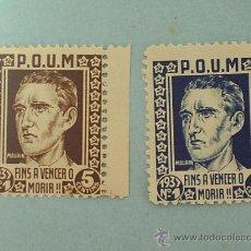 Sellos: VIÑETA GUERRA CIVIL 1937 MAURIN POUM DOS DIFERENTE COLOR. Lote 25732724