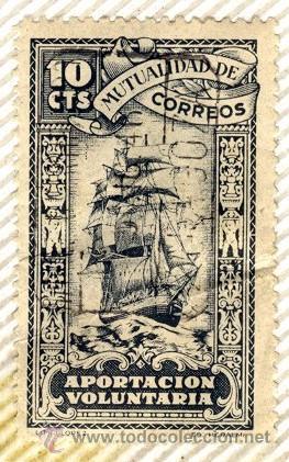 MUTUALIDAD DE CORREOS, APORTACION VOLUNTARIA 10 CTS, GUERRA CIVIL (Sellos - España - Guerra Civil - Beneficencia)