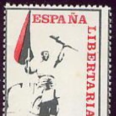 Sellos: ESPAÑA LIBERTARIA - AIT - 100 PTA. 1974 VIÑETA ANARQUISTA. ÚLTIMOS MESES DE LA DICTADURA.. Lote 26641332