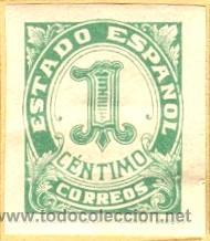 SELLO ESTADO ESPAÑOL 1 CENTIMO 1937 ,HIJA DE F. FOURNIER BURGOS SIN CIRCULAR GUERRA CIVIL (Sellos - España - Guerra Civil - De 1.936 a 1.939 - Usados)