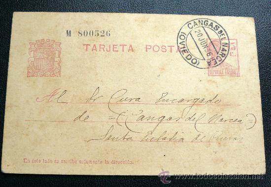 ESPAÑA (1936) CANGAS DE NARCEA (ASTURIAS) PRECIOSA (Sellos - España - Guerra Civil - De 1.936 a 1.939 - Usados)
