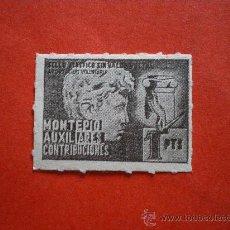 Sellos: SELLO MONTEPIO AUXILIARES CONTRIBUCIONES 1 PTS. Lote 26856236