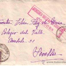 Sellos: SOBRE CENSURA MILITAR CORDOBA CON SELLO ISABEL LA CATOLICA (ASLDORSO SELLO BENEFICIENCIA CORDOBA). Lote 17797249