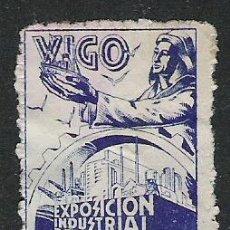 Sellos: 202-VIÑETA ANTIGUA VIGO AÑO 1944 COMERCIO,EXPOSICION INDUSTRIAL DE GALICIA. Lote 18719206