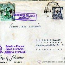 Sellos: SOBRE CENSURA MILITAR BILBAO. SALDUO FRANCO ARRIBAS ESPAÑA. NORTE FILATELICO. JOSE ANTONIO 10 CTS. Lote 19099422