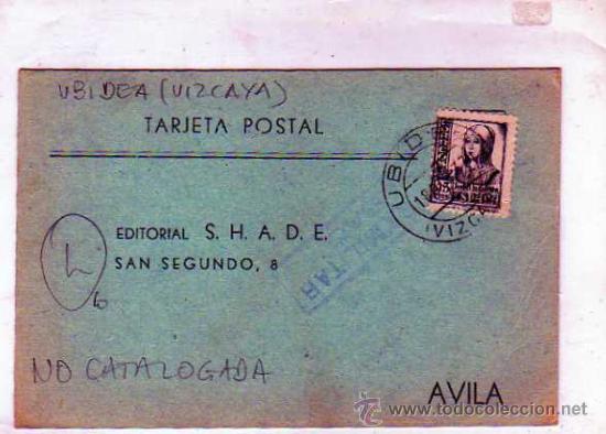 CENSURA MILITAR. UBIDEA. VIZCAYA. GUERRA CIVIL. NO CATALOGADA. 23 OCT 1937. (Sellos - España - Guerra Civil - De 1.936 a 1.939 - Usados)