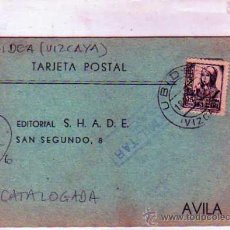 Sellos: CENSURA MILITAR. UBIDEA. VIZCAYA. GUERRA CIVIL. NO CATALOGADA. 23 OCT 1937.. Lote 19148570