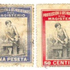 Selos: 2 SELLOS PROTECCION A LOS HUERFANOS DEL MAGISTERIO 50 CTS Y 1 PTS, GUERRA CIVIL. Lote 19215497