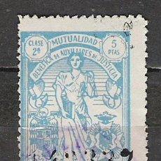 Sellos: 512-SELLO FISCAL MUTUALIDAD BENEFICA DE HUERFANOS DE JUSTICIA ,MUY ANTIGUO 5 PESETAS. Lote 19346200
