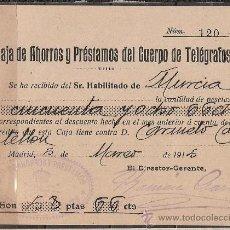 Sellos: A1-INTERESANTE DOCUMENTO MATASELLOS OVALADO TELEGRAFOS AÑO 1915 EN MURCIA,HISTORIA POSTAL. Lote 19367212