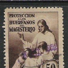 Sellos: 666-SELLO ANTIGUO FISCAL 50 CENTIMOS PROTECCION DE HUERFANOS DEL MAGISTERIO,ESCASO. Lote 19582862