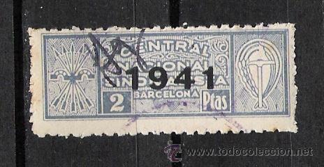 NC145 BARCELONA CENTRAL NACIONAL SINDICALISTA 2 PTAS AZUL SCGA -1941- (Sellos - España - Guerra Civil - Beneficencia)