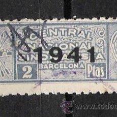 Sellos: NC145 BARCELONA CENTRAL NACIONAL SINDICALISTA 2 PTAS AZUL SCGA -1941-. Lote 19424990