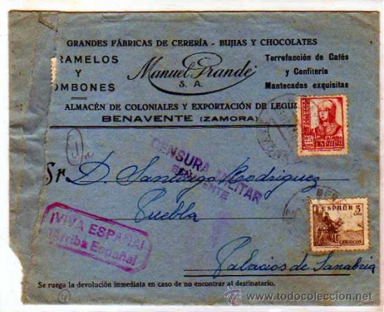 ZAMORA. BENAVENTE. CARAMELOS MANUEL GRANDE CERERIA BUJIAS.. CENSURA MILITAR MORADO. VIVA ESPAÑA. (Sellos - España - Guerra Civil - De 1.936 a 1.939 - Usados)