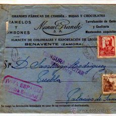 Sellos: ZAMORA. BENAVENTE. CARAMELOS MANUEL GRANDE CERERIA BUJIAS.. CENSURA MILITAR MORADO. VIVA ESPAÑA. . Lote 20211152