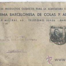 Sellos: SOBRE. BALSARENY. HOSPITALET.VIÑETA DE BARCELONA. SELLO DE MILICIAS ANTIFASCISTAS. . Lote 20991266