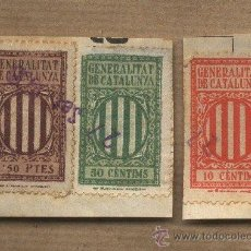 Sellos: TRES VIÑETAS FISCALES. GENERALITAT DE CATALUNYA. 10, 50 CTS. 1 PESETA. PEGADAS.. Lote 26720251