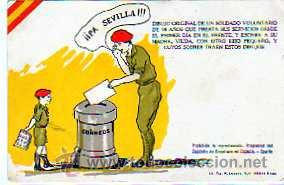 GUERRA CIVIL. POSTAL PROPAGANDA. FALANGE. PA SEVILLA. LIT TIP. LOSADA GOMEZ HERMANOS. CORREOS. (Sellos - España - Guerra Civil - De 1.936 a 1.939 - Usados)