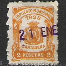 Sellos: 792-RARO 2 PESETAS FISCAL LOCAL CARTAGENA MURCIA IMPUESTOS.ALTO VALOR.PERFECTO 1928.. Lote 21210984