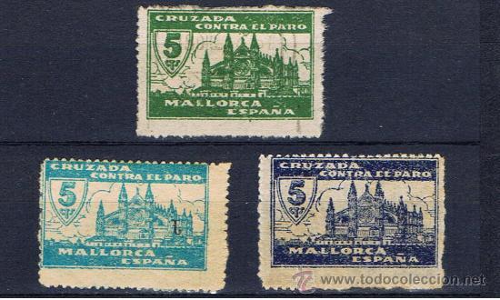 CRUZADA CONTRA EL PARO 1937 MALLORCA 5 CTS VARIEDADES DE COLOR (Sellos - España - Guerra Civil - Locales - Usados)