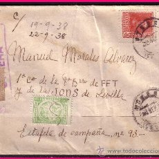 Sellos: UTRERA - SEVILLA 1938 CARTA FRANQUEO ED. 844 + LOCALES, CENSURA. Lote 21509266
