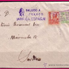 Sellos: SEVILLA 1937 CARTA CON EDIFIL Nº 823 + LOCAL, + CENSURA + MARCA