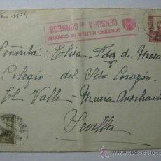 Sellos: SOBRE CENSURA MILITAR CORDOBA - AL DORSO SELLO BENEFICIENCIA. Lote 21705929