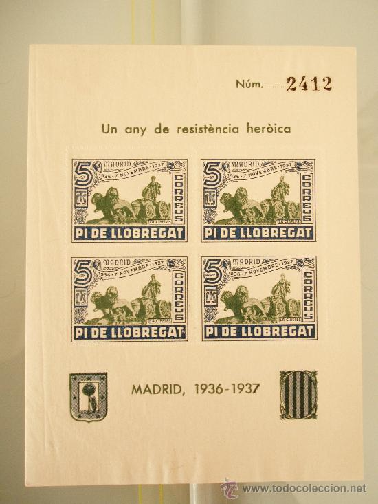 HOJA DE 4 VIÑETAS, PI DE LLOBREGAT, UN ANY DE RESISTÈNCIA HISTÒRICA, MADRID 1936 -1937 GUERRA CIVIL (Sellos - España - Guerra Civil - Viñetas - Usados)
