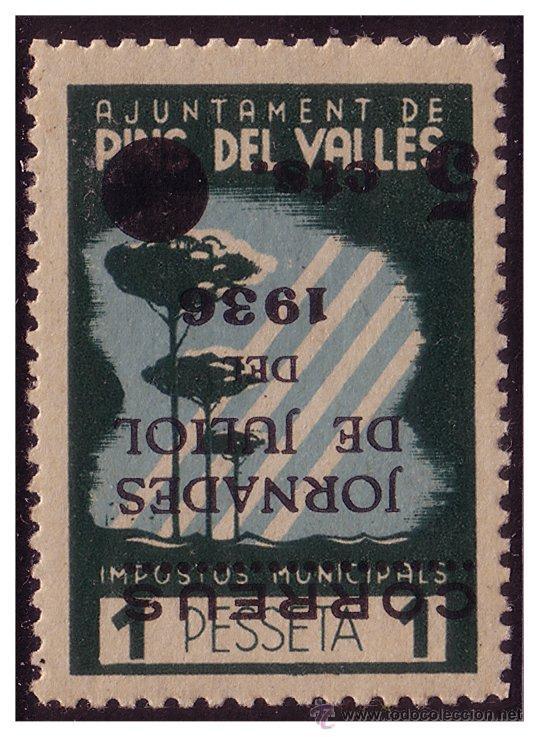 BARCELONA PINS DEL VALLÉS, GUERRA CIVIL, FESOFI Nº 9I * * HABILITACIÓN INVERTIDA (Sellos - España - Guerra Civil - De 1.936 a 1.939 - Nuevos)