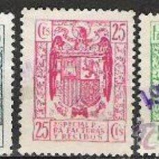 Sellos: 2087-LOTE SELLOS FISCALES ETAPA FRANCO PARA FACTURAS SIN REPETIDOS,VEAN.10,00€ EDIFIL. Lote 22687552