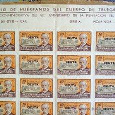 Sellos: HOJA DE 100 SELLOS,CEUTA , COLEGIO DE HUERFANOS DEL CUERPO DE TELEGRAFOS . Lote 22850012