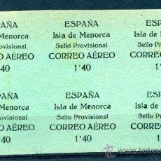 Sellos: EDIFIL 2 DE MENORCA. BLOQUE DE 6 SELLOS. NUEVO SIN GOMA Y ALGO DE ÓXIDO.. Lote 25015599