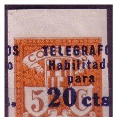 Sellos: BARCELONA TELÉGRAFOS 1937 SERIE 4ª HABILITADO 20 CTS, EDIFIL Nº 11S * * LUJO. Lote 23271112
