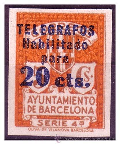 BARCELONA TELÉGRAFOS 1937 SERIE 4ª HABILITADO 20 CTS, EDIFIL Nº 11S, PRUEBA C (*) (Sellos - España - Guerra Civil - De 1.936 a 1.939 - Nuevos)