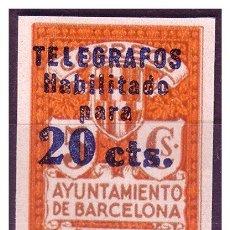 Sellos: BARCELONA TELÉGRAFOS 1937 SERIE 4ª HABILITADO 20 CTS, EDIFIL Nº 11S, PRUEBA C (*). Lote 23271231