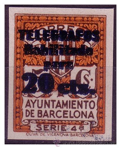 BARCELONA TELÉGRAFOS 1937 SERIE 4ª HABILITADO 20 CTS, EDIFIL Nº 11S, PRUEBA E (*) (Sellos - España - Guerra Civil - De 1.936 a 1.939 - Nuevos)