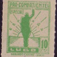 Sellos: ESPAÑA. LOCAL. (CAT. 23A). 10 CTS. PRO-COMBATIENTES (ESPECIAL). LUGO. MAGNÍFICO.. Lote 23461798