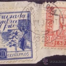 Sellos: ESPAÑA. (CAT. 2). 10 CTS. CRUZADA CONTRA EL FRIO Y SELLO DE 30 CTS. MAT. PAMPLONA. BONITO.. Lote 23534061