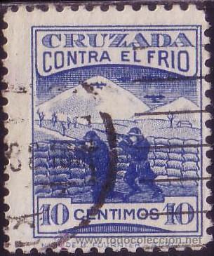 ESPAÑA. (CAT.12). 10 CTS. CRUZADA CONTRA EL FRIO. MUY BONITO. (Sellos - España - Guerra Civil - Beneficencia)