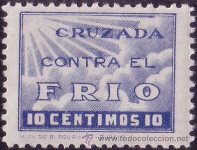 ESPAÑA. (CAT.15). ** 10 CTS. CRUZADA CONTRA EL FRIO. MAGNÍFICO. (Sellos - España - Guerra Civil - Beneficencia)