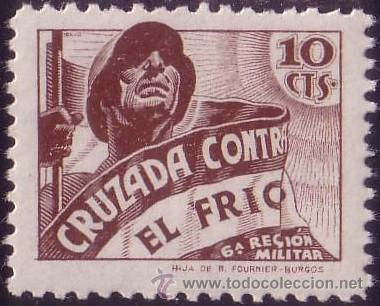 ESPAÑA. (CAT. 22). ** 10 CTS. CRUZADA CONTRA EL FRIO. MAGNÍFICO. (Sellos - España - Guerra Civil - Beneficencia)