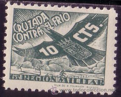 ESPAÑA. (CAT. 26). ** 10 CTS. CRUZADA CONTRA EL FRIO/6ª REGIÓN MILITAR. MAGNÍFICO. (Sellos - España - Guerra Civil - Beneficencia)